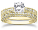1.59 Carat Antique Style Diamond Bridal Set, 14K Yellow Gold