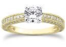 0.85 Carat Antique Style Diamond Engagement Ring, 14K Yellow Gold