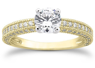 1 Carat Antique Style Diamond Engagement Ring, 14K Yellow Gold