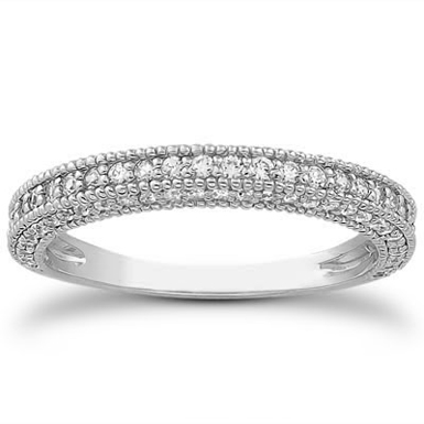 0.64 Carat Antique Style Diamond Wedding Band