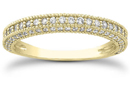 1/2 Carat Antique Style Diamond Wedding Band, 14K Yellow Gold
