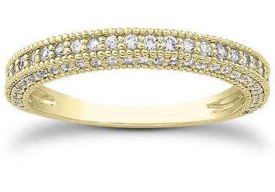 1/2 Carat Antique Style Diamond Wedding Band, 14K Yellow Gold