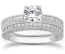 1.56 Carat Antique Style Diamond Bridal Set