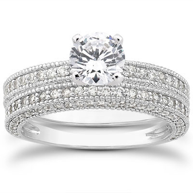 1.13 Carat Antique Style Diamond Bridal Set