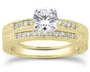 1/2 Carat Antique Style Diamond Petite Bridal Set, 14K Yellow Gold