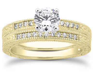 0.64 Carat Antique Style Diamond Petite Bridal Set, 14K Yellow Gold