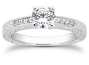 1/2 Carat Antique Style Diamond Petite Engagement Ring