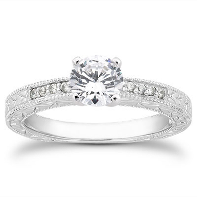 0.81 Carat Antique Style Diamond Petite Engagement Ring