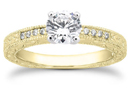 1/2 Carat Antique Style Diamond Petite Engagement Ring, 14K Yellow Gold