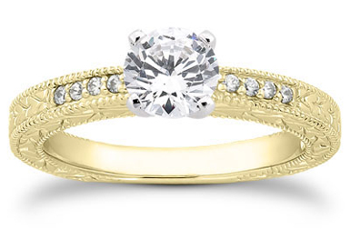 0.39 Carat Antique Style Diamond Petite Engagement Ring, 14K Yellow Gold