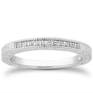 14K White Gold Antique Style Diamond Petite Wedding Band