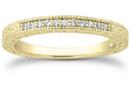 Antique Style Diamond Petite Wedding Band, 14K Yellow Gold