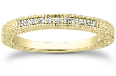 Antique Style Diamond Petite Wedding Band, 14K Yellow Gold