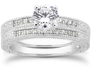 0.89 Carat Antique Style Diamond Petite Bridal Set