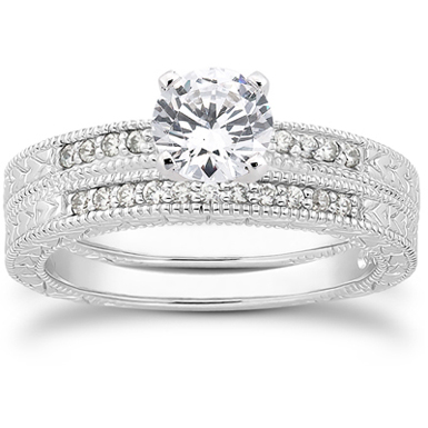 1.14 Carat Antique Style Diamond Petite Bridal Set