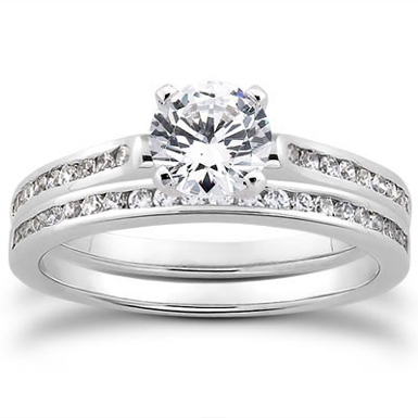 0.90 Carat Round Cut Diamond Engagement Set