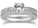 1 Carat Milgrain Bridal Wedding Ring Set