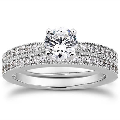 1.41 Carat Milgrain Bridal Wedding Ring Set