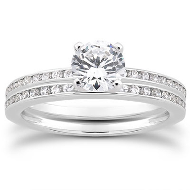 1.39 Carat Channel Set Diamond Bridal Set
