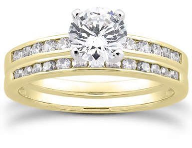 3/4 Carat Diamond Traditional Wedding and Engagement Ring Set, 14K Yellow Gold