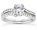 1.27 Carat Modern Diamond Bridal Wedding Ring Set in 14K White Gold