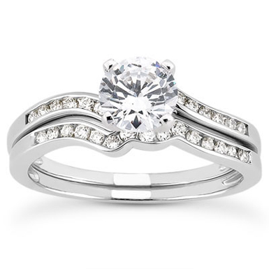 1 Carat Modern Diamond Bridal Wedding Ring Set
