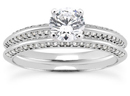 1 Carat Diamond Wedding and Engagement ring Set