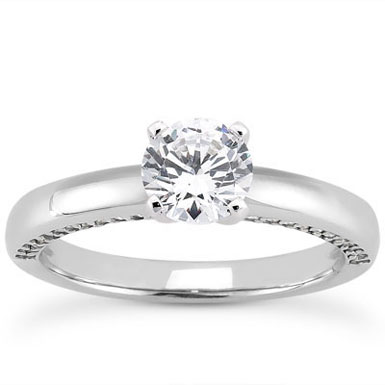 1 Carat Side Accented Diamond Engagement Ring