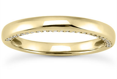 1/4 Carat Side Accented Diamond Wedding Ring, 14K Yellow Gold