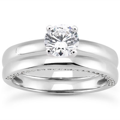 0.87 Carat Side Accented Diamond Bridal Wedding Ring Set