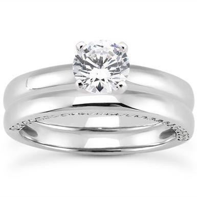 1 Carat Side Accented Diamond Bridal Wedding Ring Set