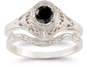 Antique-Style Black Diamond Bridal Set