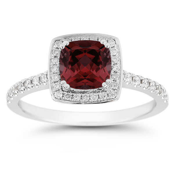 cushion cut garnet halo ring14k white gold
