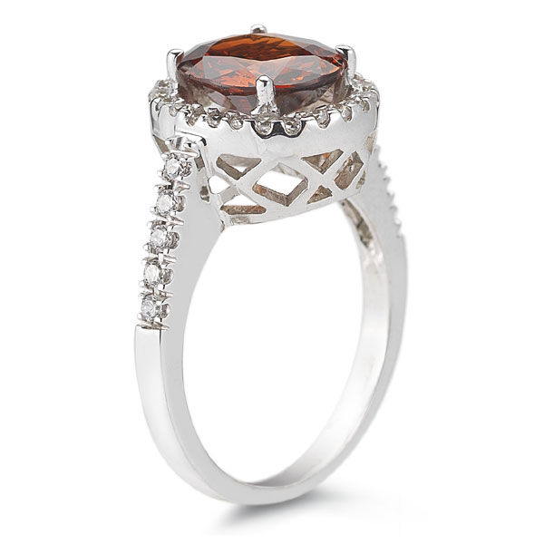 rare 14K white gold Mandarin garnet and diamond halo ring
