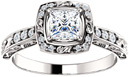 Sculptured Princess-Cut Diamond Engagement Ring