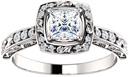 Sculptured Princess-Cut Diamond Engagement Ring