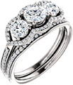 Three Stone Diamond Halo Bridal Engagement Wedding Ring Set