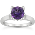 Amethyst and Diamond Accent Solitaire Engagement Ring