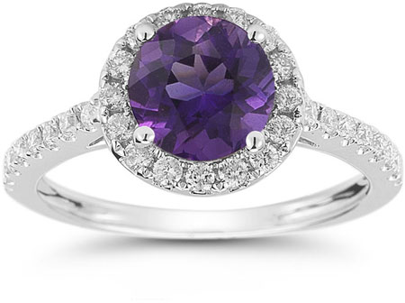 Amethyst and Diamond Halo Gemstone Ring in 14K White Gold