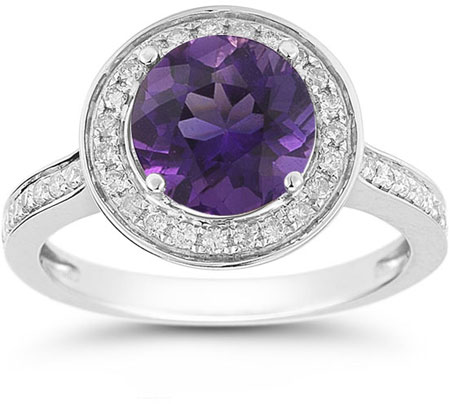 Amethyst and Diamond Halo Ring in 14K White Gold