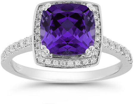 Amethyst and Pave Diamond Halo Ring in 14K White Gold