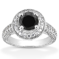1.31 Carat Black and White Diamond Antique Halo Engagement Ring