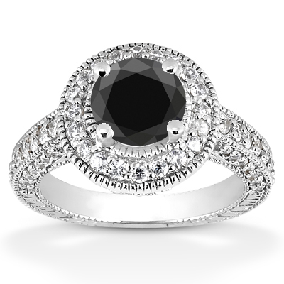 0.50 Carat Black Diamond Antique Halo Engagement Ring