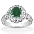 Antique Halo Emerald and Diamond Ring