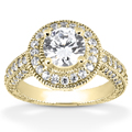 1.31 Carat Antique Halo Engagement Ring in 14K Yellow Gold