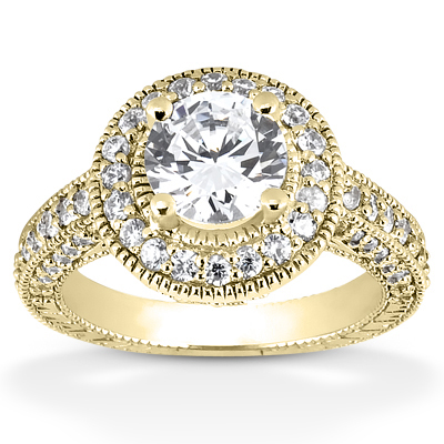 0.50 Carat Antique Halo Engagement Ring in 14K Yellow Gold