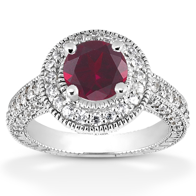 Antique Halo Ruby and Diamond Ring