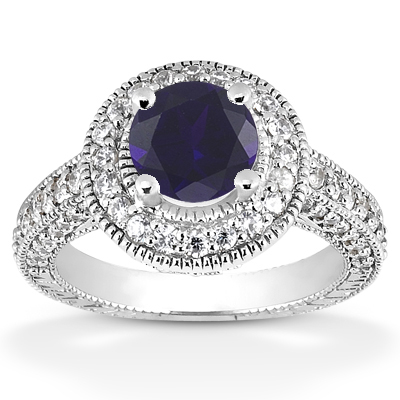 Antique Halo Sapphire and Diamond Ring