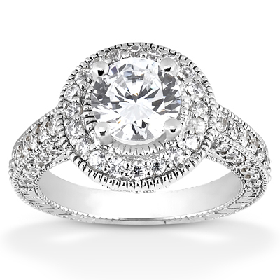 Cubic Zirconia Antique Halo Engagement Ring