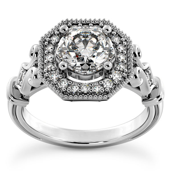 Antique-Style 1.19 Carat Diamond Halo Engagement Ring